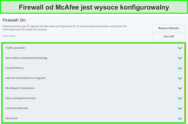 Zrzut ekranu zapory sieciowej McAfee.