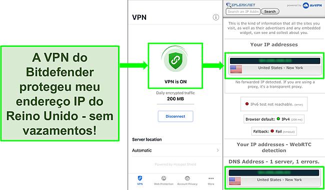 Captura de tela mostrando o recurso VPN iOS do Bitdefender e os resultados de um teste de vazamento de IP que não mostra vazamentos.