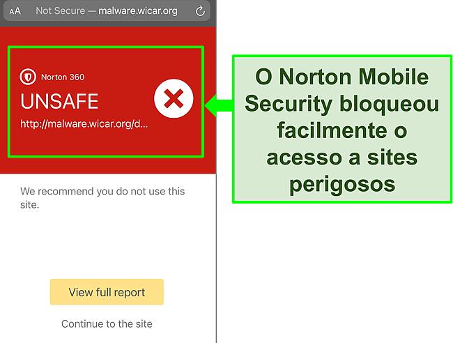 Captura de tela do aplicativo Mobile Security iOS do Norton trabalhando para bloquear o acesso a um site de teste malicioso.