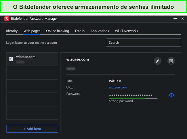 Captura de tela do gerenciador de senhas do Bitdefender.