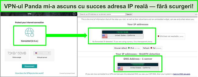 Captură de ecran a VPN-ului Panda conectat la un server din SUA cu rezultatele unui test de scurgere IP care nu arată scurgeri.