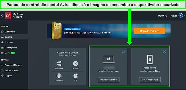 Captură de ecran a tabloului de bord al contului Avira care arată dispozitivele cu planul gratuit instalat.