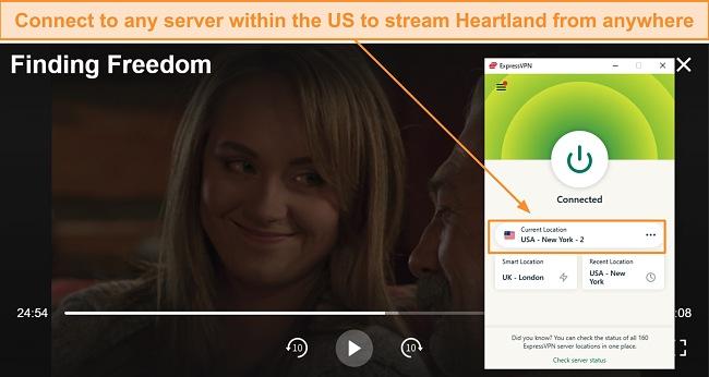 Screenshot of Heartland streaming through Hallmark Movies Now using ExpressVPN