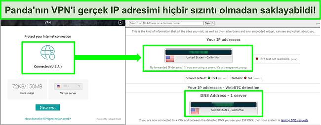 Panda'nın bir ABD sunucusuna bağlı VPN'inin, IP sızıntı testinin sonuçlarında sızıntı olmadığını gösteren ekran görüntüsü.