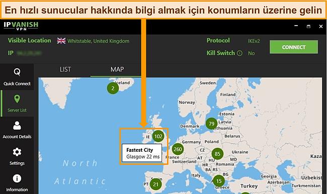 Harita arayüzünde Birleşik Krallık sunucularının vurgulandığı IPVanish uygulamasının ekran görüntüsü