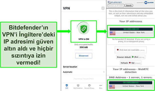 Bitdefender'ın iOS VPN özelliğini ve sızıntı olmadığını gösteren bir IP sızıntı testinin sonuçlarını gösteren ekran görüntüsü.