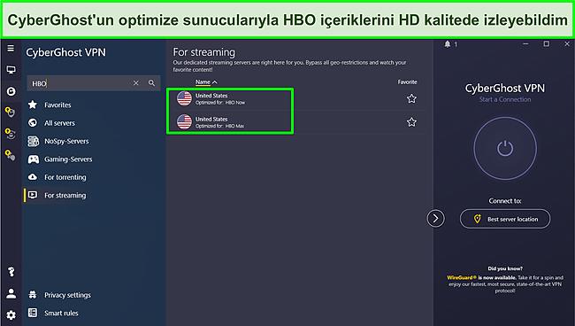 HBO akışı için optimize edilmiş bir Cyberghost sunucusuna bağlanmanın ekran görüntüsü