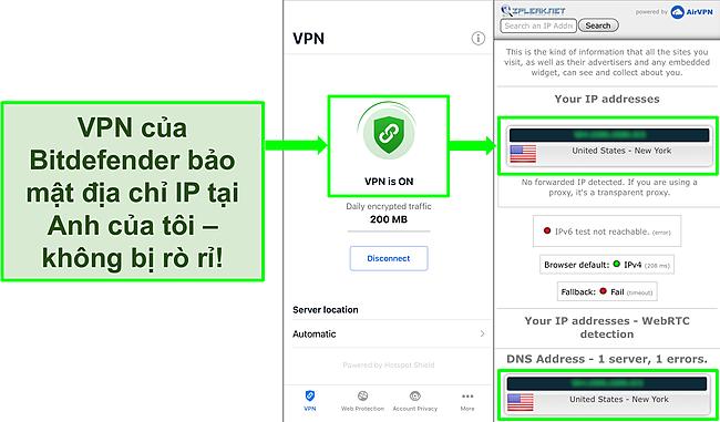 Ảnh chụp màn hình cho thấy tính năng VPN iOS của Bitdefender và kết quả kiểm tra rò rỉ IP cho thấy không có rò rỉ.