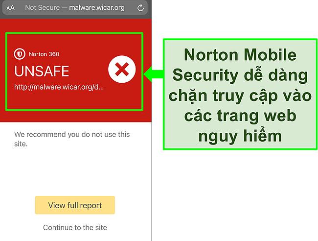 Ảnh chụp màn hình ứng dụng iOS của Norton Mobile Security đang hoạt động để chặn quyền truy cập vào một trang web thử nghiệm độc hại.