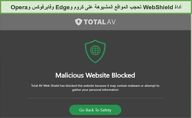 لقطة شاشة لواجهة مستخدم بائع TotalAV على الهاتف الذكي والكمبيوتر اللوحي وسطح المكتب.