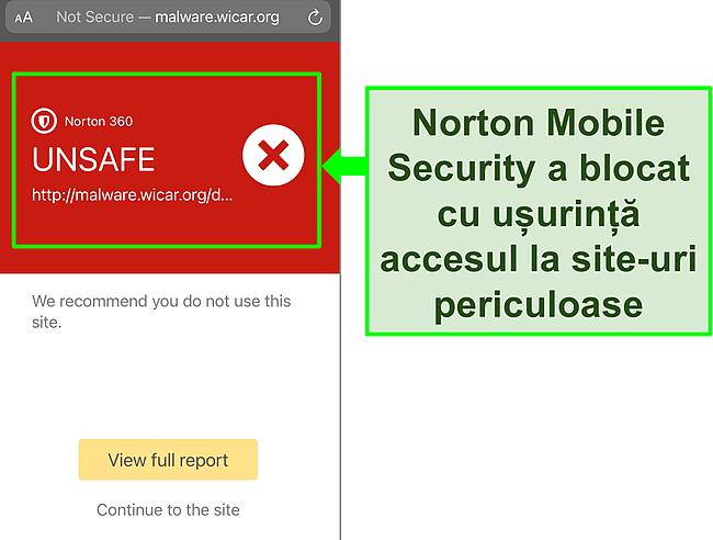 Captură de ecran a aplicației iOS Norton Mobile Security care funcționează pentru a bloca accesul la un site web de testare dăunătoare.