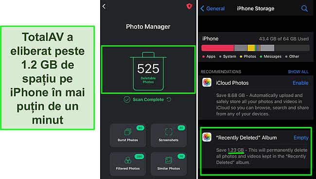 Captură de ecran a TotalAV Photo Manager și spațiu de stocare pentru iPhone, care arată peste 1,2 GB de spațiu liber.