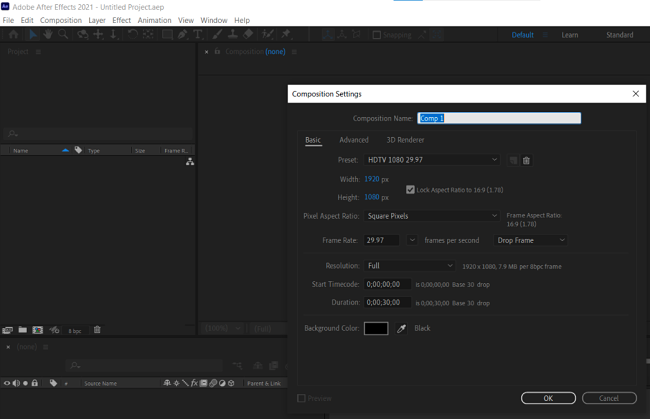 Adobe After Effect editing page