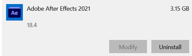Adobe After Effect remove program
