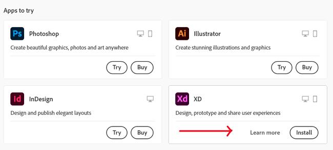 Screenshot of Adobe apps