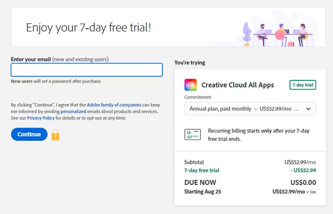 Screenshot of Adobe Creative Cloud free trial