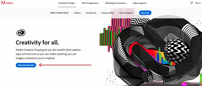 Screenshot of Adobe Creative Cloud home page
