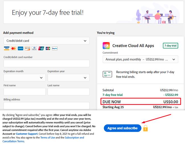 Screenshot of Adobe Creative Cloud register
