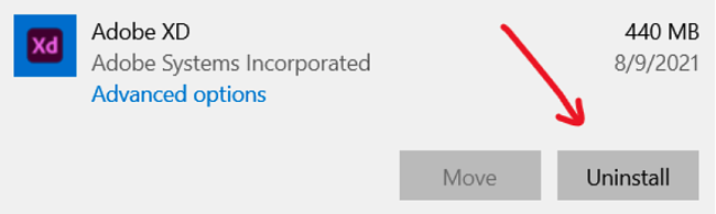 Screenshot of uninstalling Adobe XD