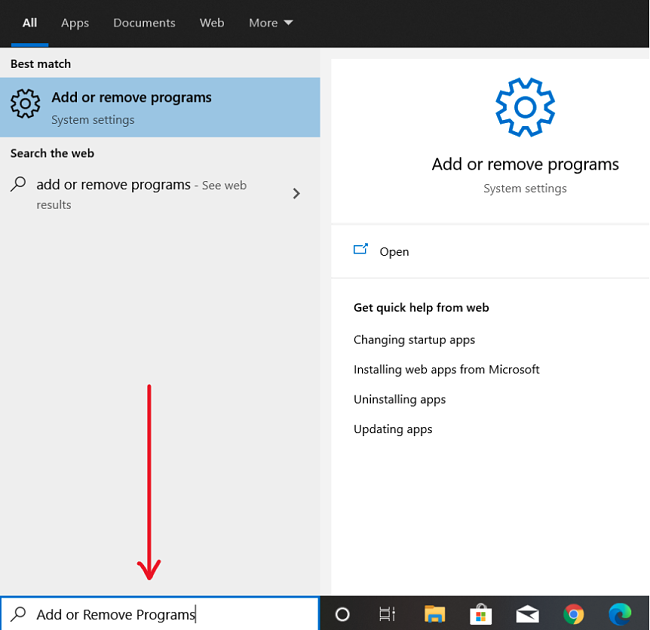 Screenshot of uninstalling Adobe XD on Windows
