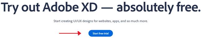 Screenshot of Adobe XD download