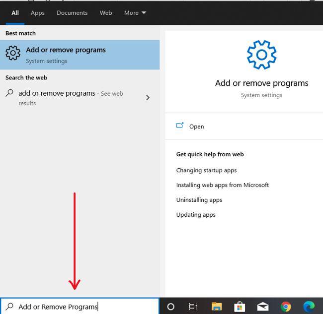 Screenshot of Windows add or remove programs