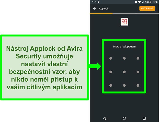 Screenshot funkce Avira pro blokování aplikací v systému Android.