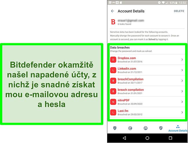 Snímek obrazovky skeneru narušení dat Bitdefenderu, který našel více odhalených účtů.