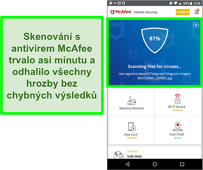 Snímek obrazovky probíhající kontroly virů pomocí McAfee Mobile Security.