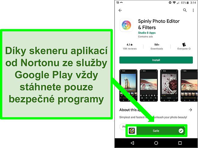 """Snímek obrazovky aplikace v obchodě Google Play, která byla skenováním Norton označena jako """"bezpečná""""."""