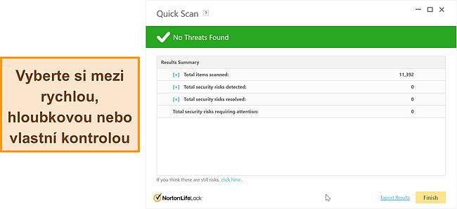 Screenshot z možností skenování Nortonu proti malwaru.