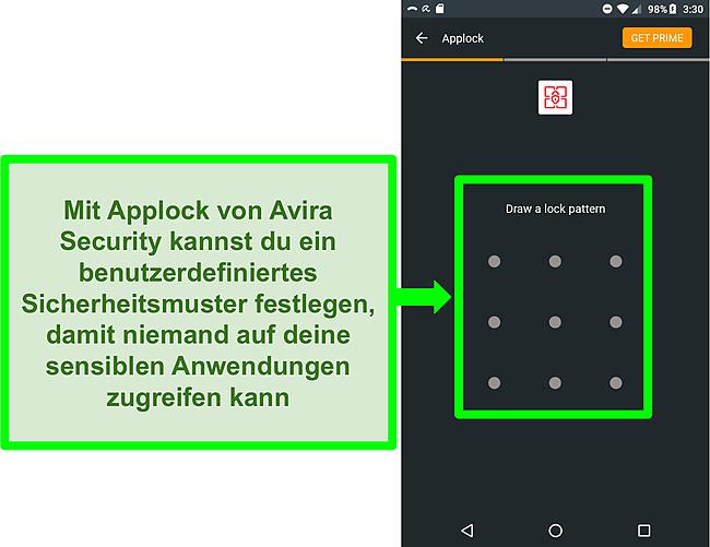Screenshot der Applock-Funktion von Avira auf Android.