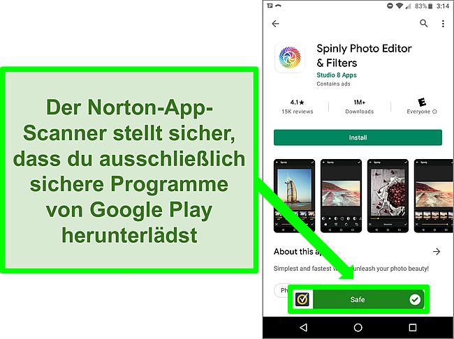 Screenshot einer App im Google Play Store, die von einem Norton-Scan als