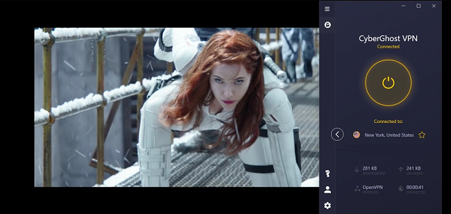 A screenshot of Black Widow streaming on Disney+ with CyberGhost connected