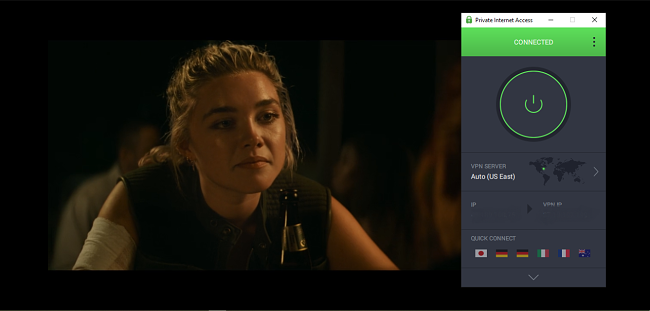 A screenshot of Black Widow streaming on Disney+ with PIA connected