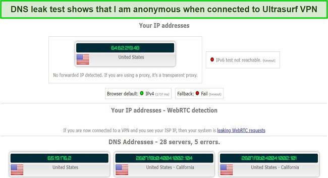 Screenshot of leak test results while using Ultrasurf VPN