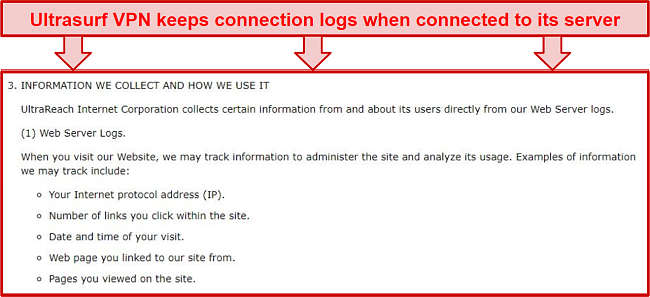 Screenshot of what Ultrasurf VPN's privacy policy says about data collection