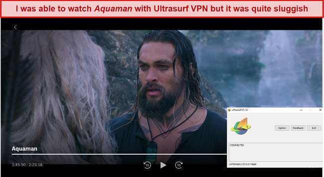 Screenshot of Ultrasurf VPN unblocking HBO Max