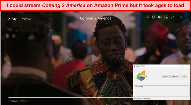 Screenshot of Ultrasurf VPN unblocking Amazon Prime