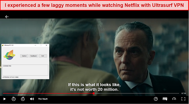 Screenshot of Ultrasurf VPN unblocking Netflix
