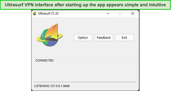 Screenshot of Ultrasurf VPN user interface