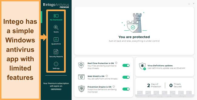 Screenshot of Intego's user interface for Windows