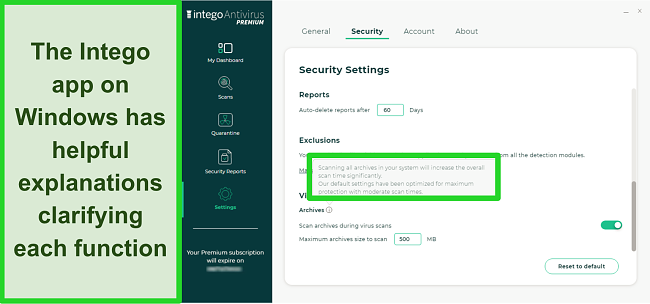 Screenshot of Intego's Security Settings menu showing an explanation of the virus archives function