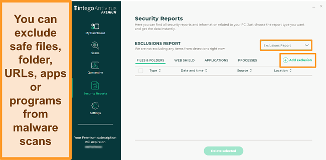 Screenshot of Intego's Security Reports screen for Exclusions, showing a button to add a new exclusion
