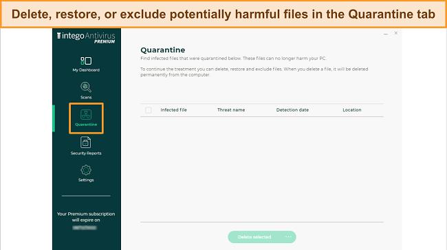 Screenshot of Intego's Quarantine tab