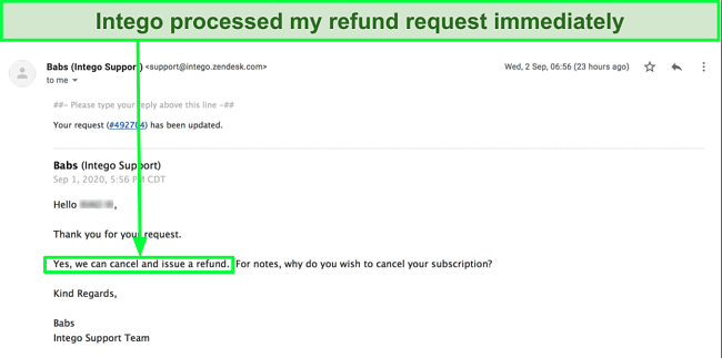 Screenshot of Intego customer support issuing a refund via email