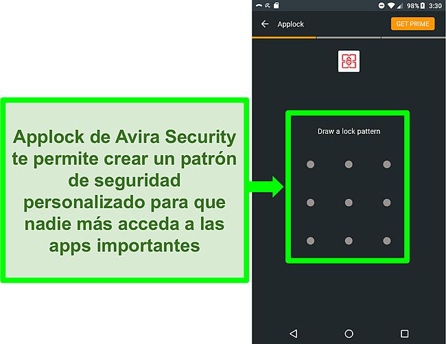 Captura de pantalla de la función de bloqueo de aplicaciones de Avira en Android.