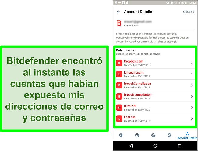 Captura de pantalla del escáner de filtración de datos de Bitdefender que encuentra varias cuentas expuestas.