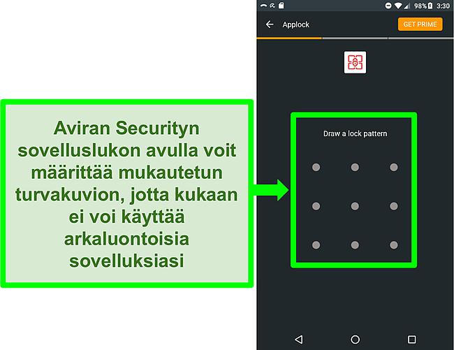 Kuvakaappaus Aviran sovelluslukitusominaisuudesta Androidissa.