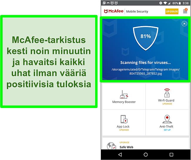 Kuvakaappaus käynnissä olevasta virustarkistuksesta McAfee Mobile Securityn avulla.